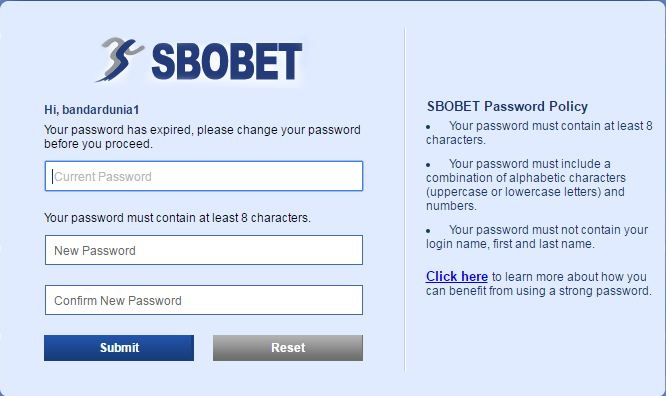 Cara Ganti Password Sbobet